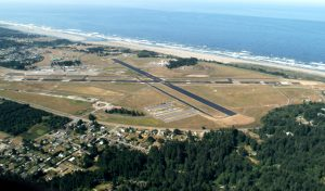 An aerial view of Arcata-Eureka Airport in Humboldt County, California.