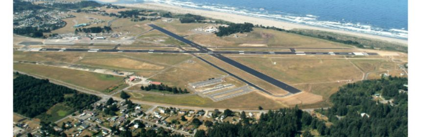 An aerial view of Arcata-Eureka Airport in Humboldt County, California. Feature