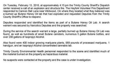 Trinity County Sheriff press release