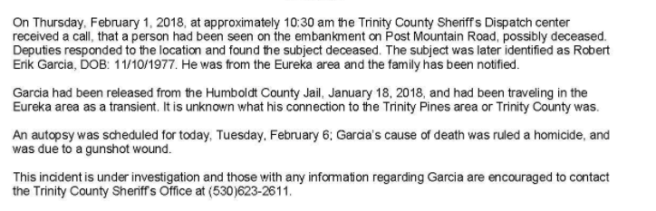 trinity sheriff press release