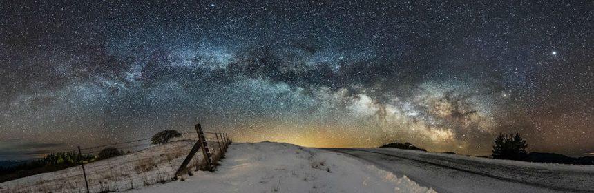 Snowy pre-dawn scene outside of Kneeland, Humboldt County, CA. February 21, 2018.