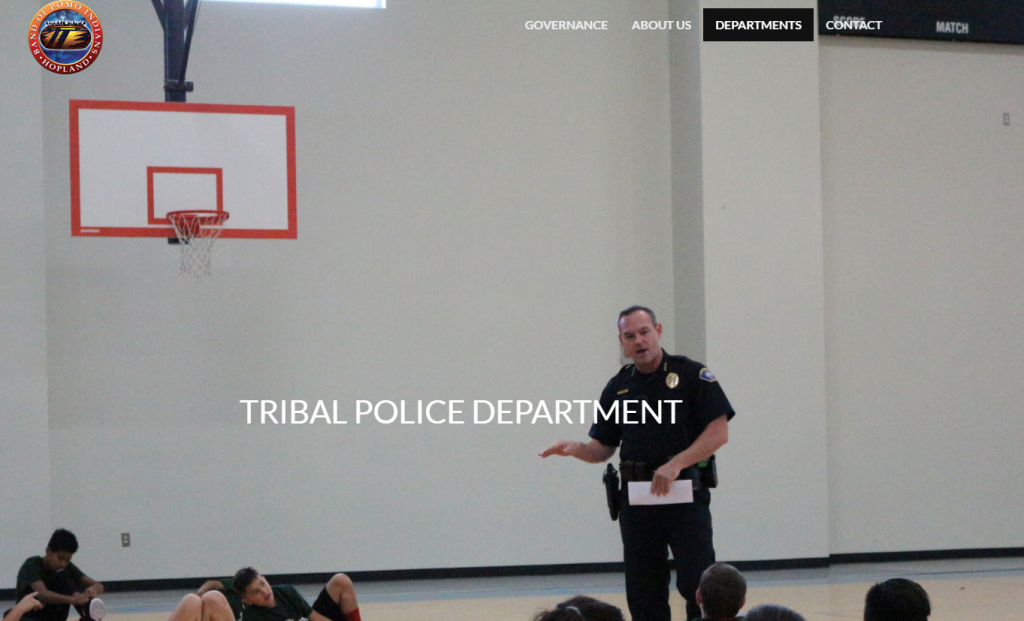 Chief Steve Hobb on the home page of the Hopland Tribal Police Department.