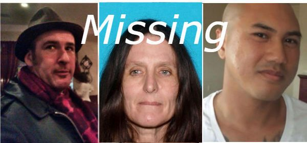 Three of the missing in the Emerald Counties: Jeff Joseph, [UPDATE: The woman shown has been located], Johnson Nguyen.