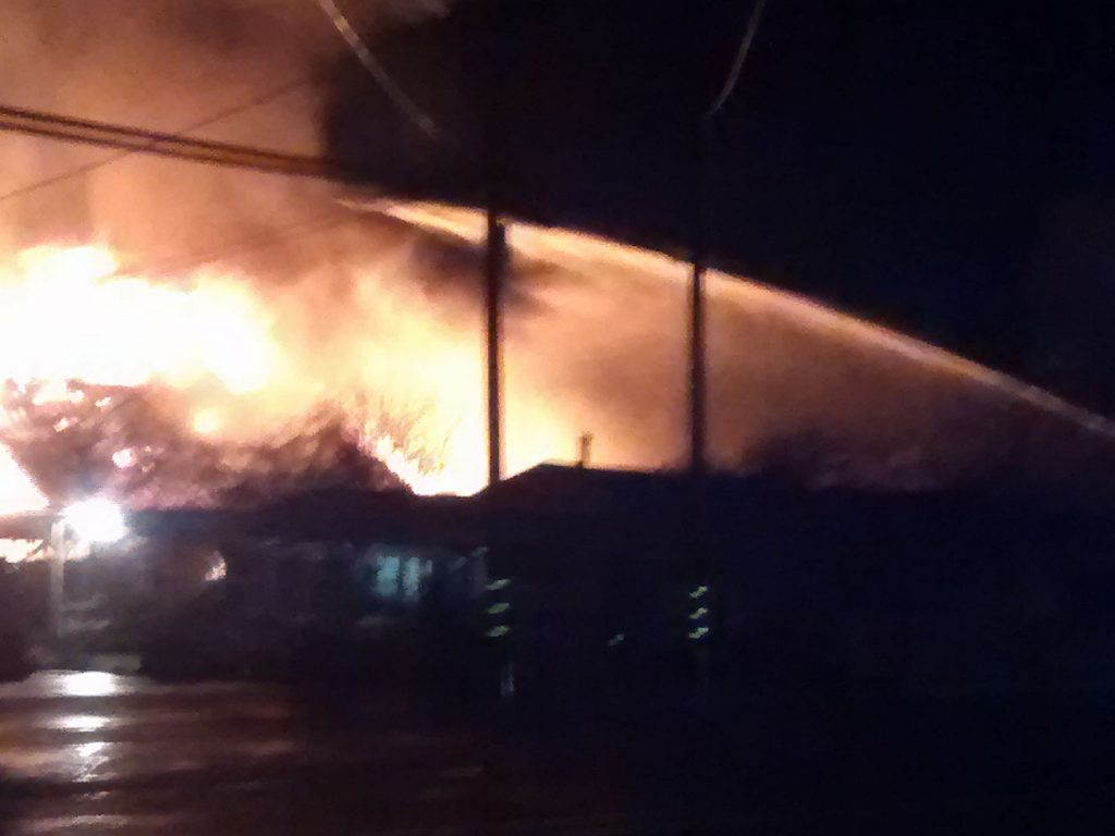 Barn burning in Fortuna