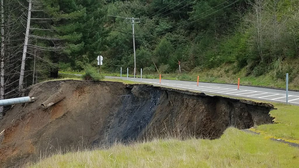 The Shelter Cove Road below the General Store is caving away. [