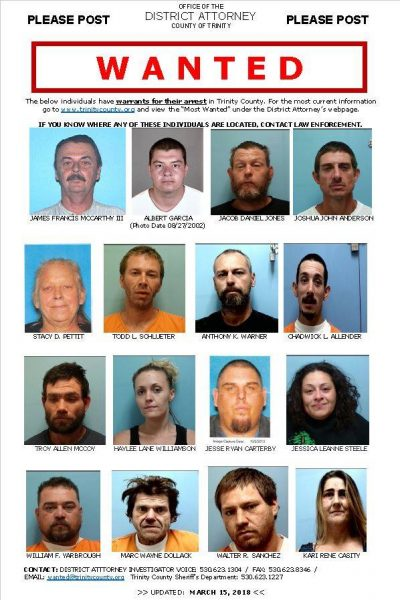 Trinity County's most wanted