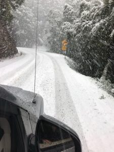 Snow on Hwy 1 about 5 p.m.