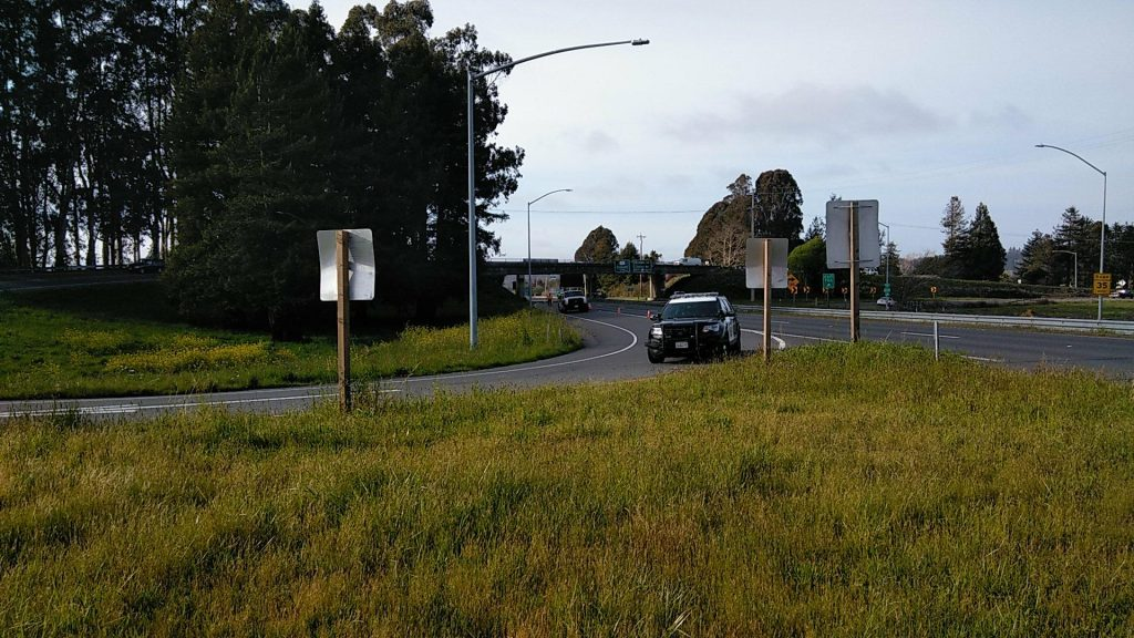 The offramp from Hwy 101 onto State Route 299 is closed after a big rig overturned.