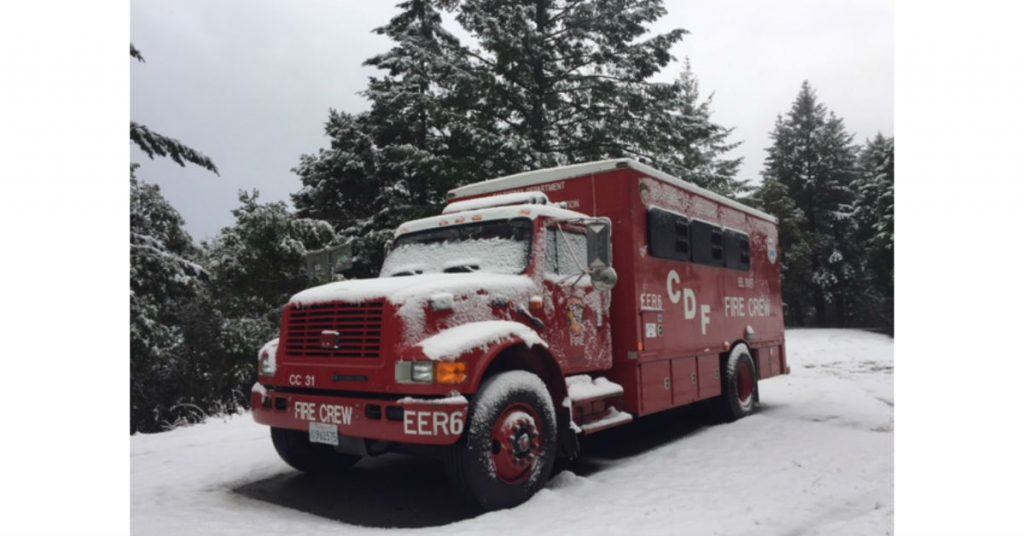 CDF truck in snow on the Shelter Cove Road