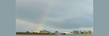 Rainbow at the Humboldt Bay Coast Guard station.