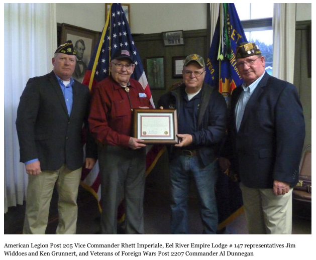 American Legion Post 205 Vice Commander Rhett Imperiale, Eel River Empire Lodge # 147 representatives Jim Widdoes and Ken Grunnert, and Veterans of Foreign Wars Post 2207 Commander Al Dunnegan