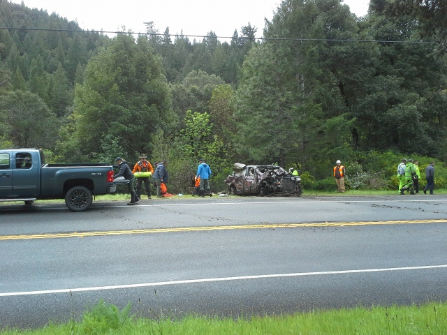 Today, the vehicle was brought up the cliff to Hwy 101.