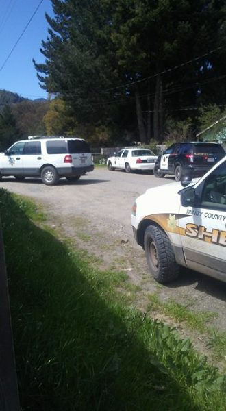 Trinity County Sheriff's and other law enforcement in Alderpoint.