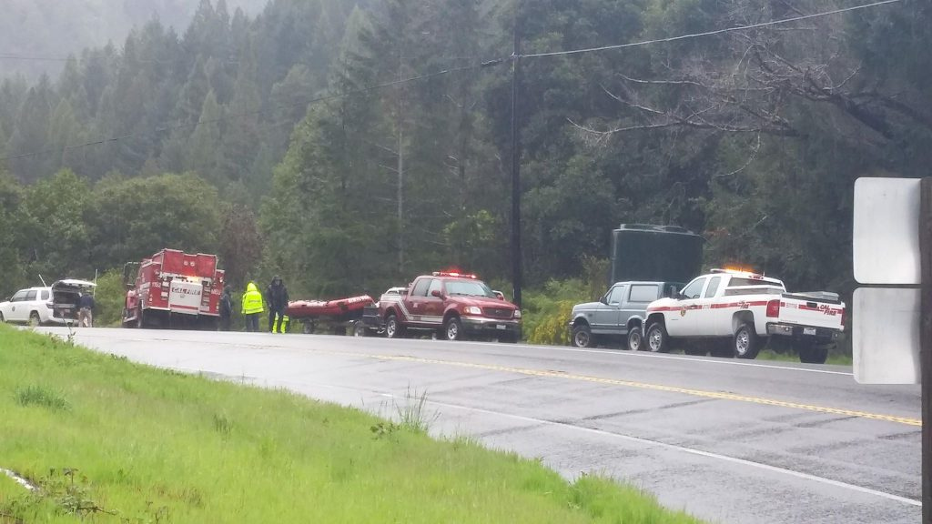 Recovery vehicles line Hwy 101 south of the accident site and near the site of the recovery efforts. Thottapilly