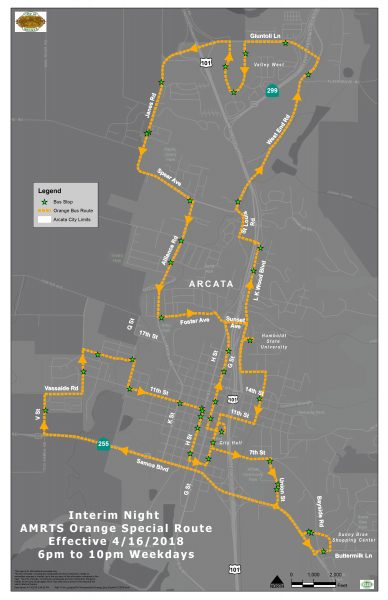Arcata Mad River Transit System Changing Evening Route Schedules