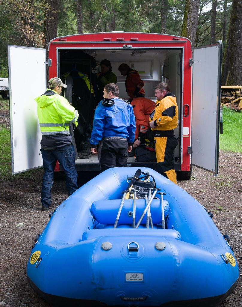 Members of Southern Humboldt Technical Rescue gear up
