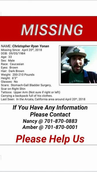Missing person Christopher Ryan Yonan
