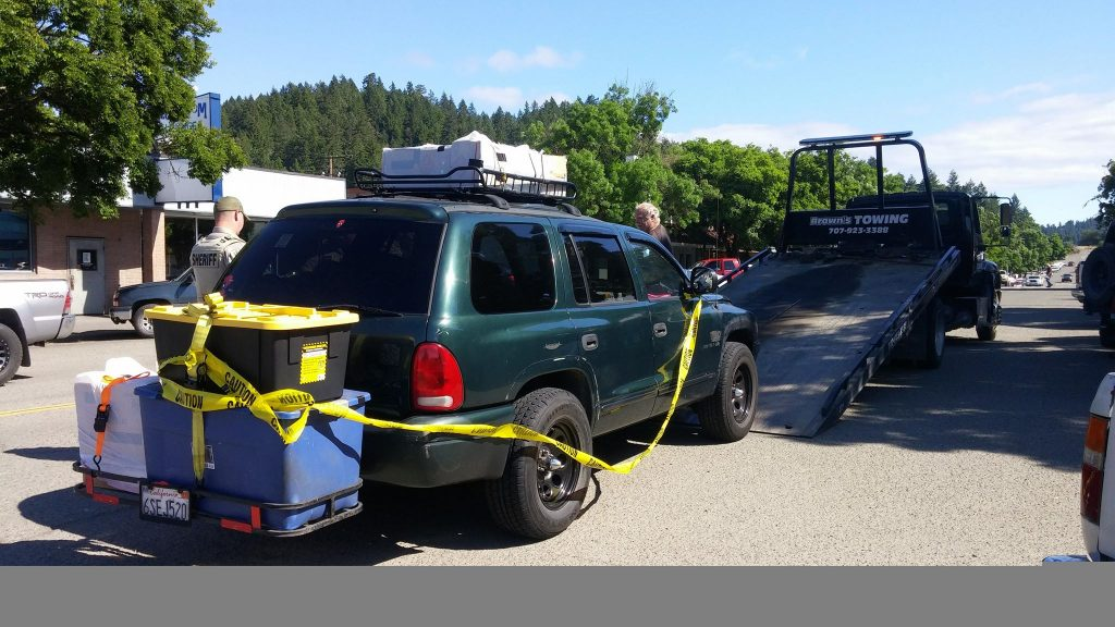 The man's vehicle was towed.