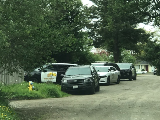 A large number of Sheriff deputies and CHP officers are at a residence on Elm Street in McKinleyville.