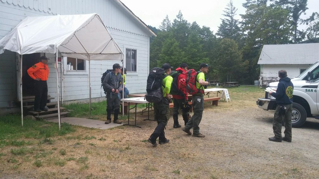 Searchers gathered this morning at the Piercy Community Center.