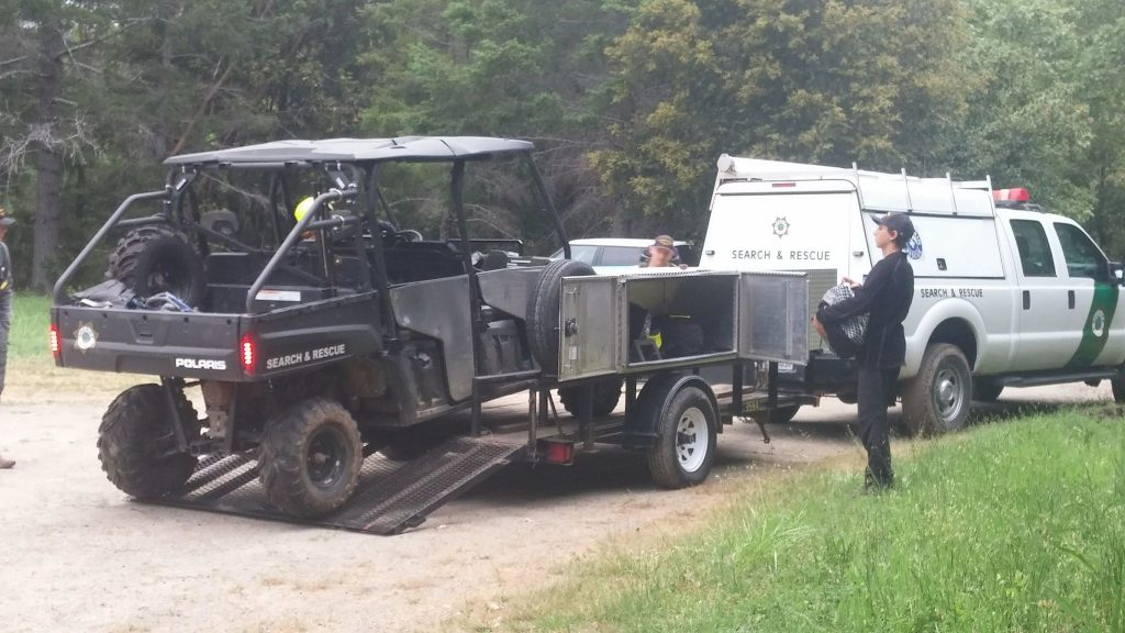 An ATV was unloaded this morning to assist in the search.