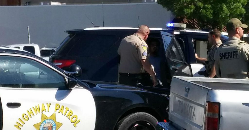A man was arrested this afternoon on sex offender charges in downtown Garberville. [Photo by Talia Rose]
