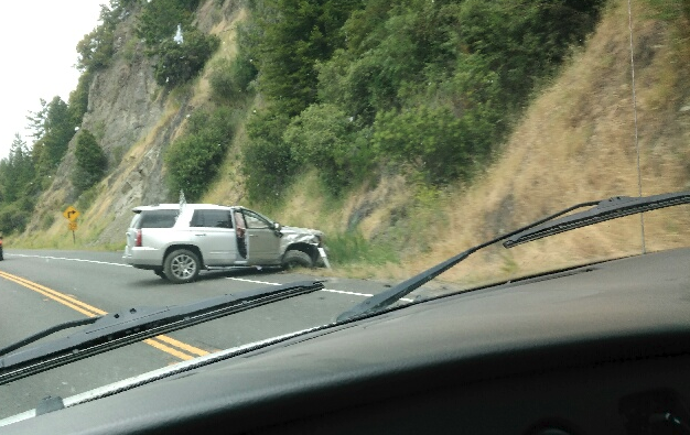 A GMC Yukon hit the hillside south of Leggett this morning.