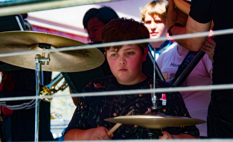 Oscar LeClair plays drums for the South Fork High School band.