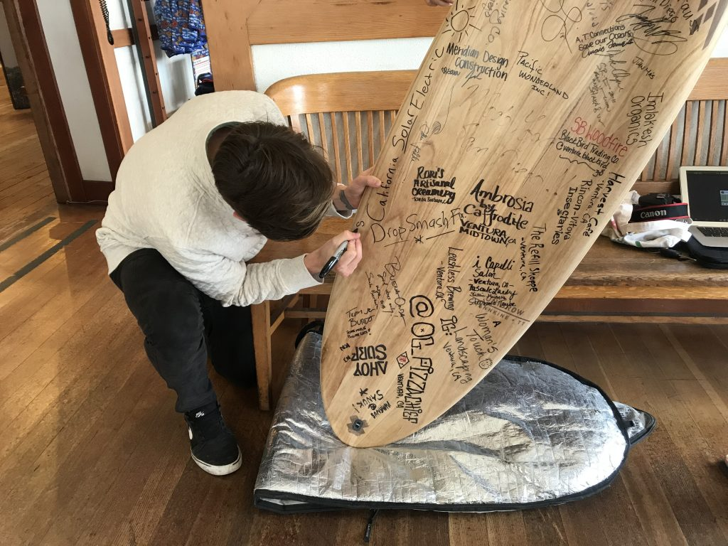 Signed surfboard.