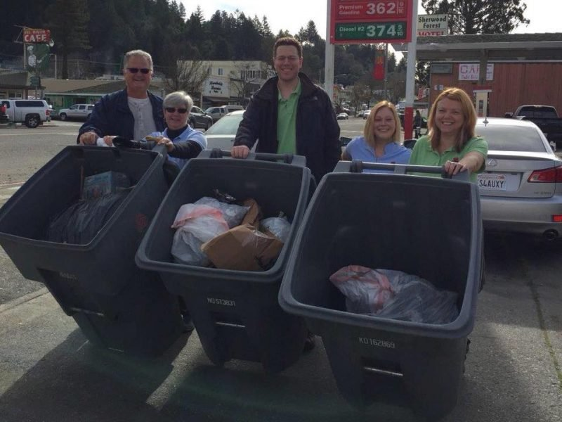 CCush employees helping to pick up trash in the January Team Up to Clean Up efforts in Southern Humboldt.