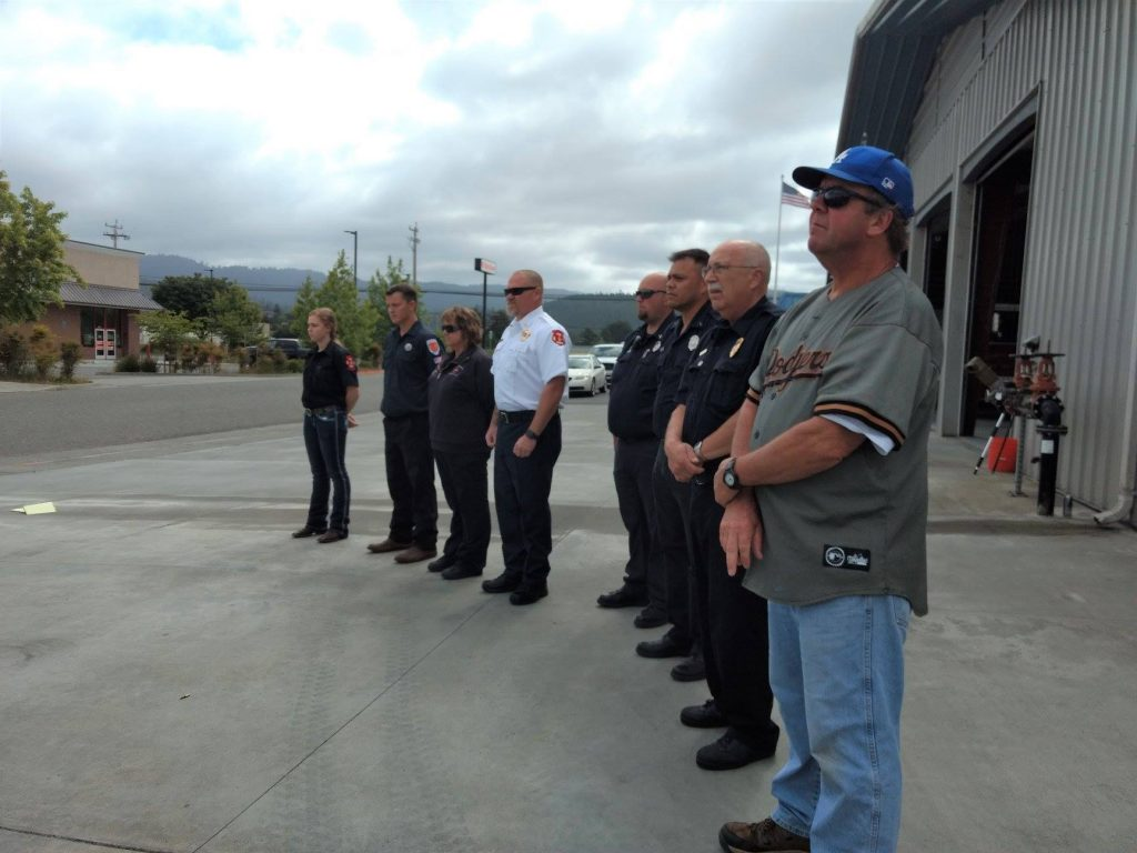 Members of Fortuna Volunteer Fire Department Company One, and Fire Explorers from Loleta and Fortuna.