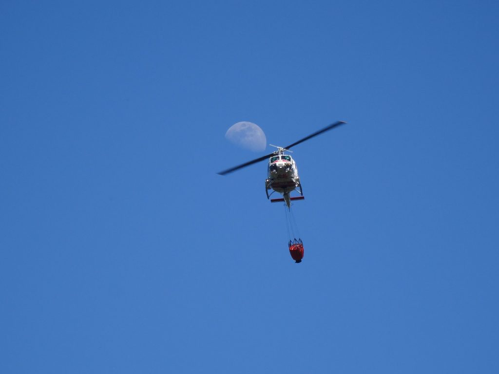 Moon helicopter fighting fire