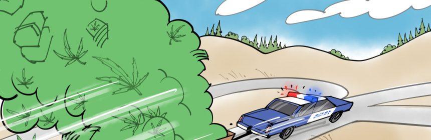 police vehicle pulling a trailer full of marijuana cartoon