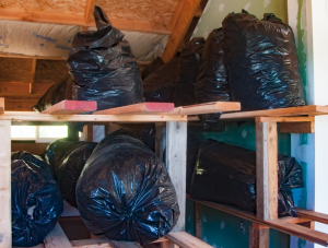Bags full of used bags in the drying room.