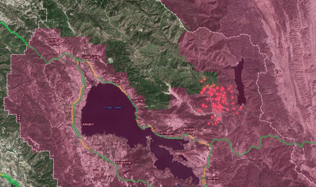 Map showing the approximate location of the Pawnee Fire. [Graphic from