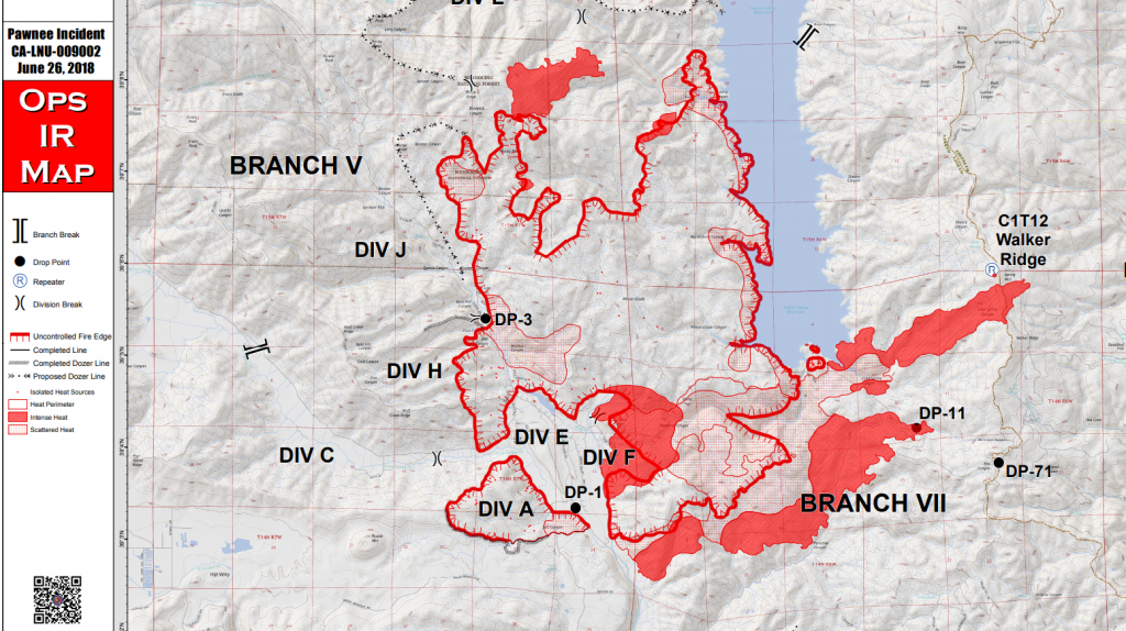 The Pawnee Fire expanded a little to the north and south but mostly ran east to slop over Walker Ridge and into Colusa County. [Screen grab of a heat map file]