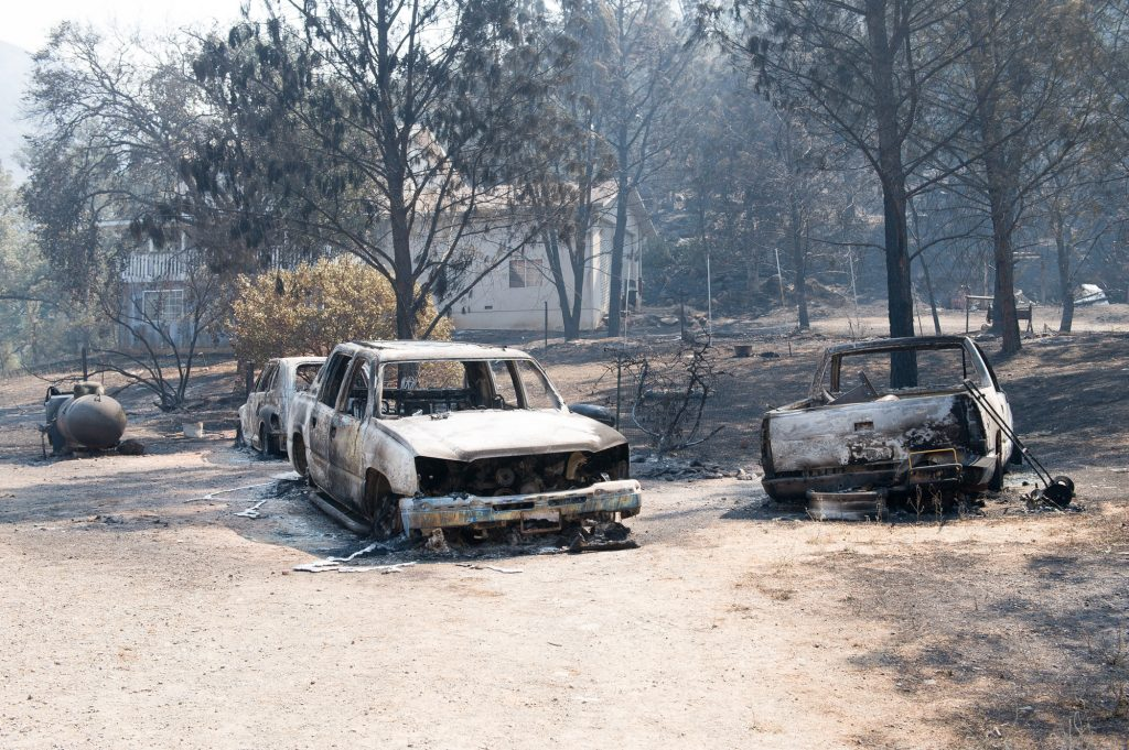 The Pawnee Fire burned through properties on Spring Valley Road in Lake County.