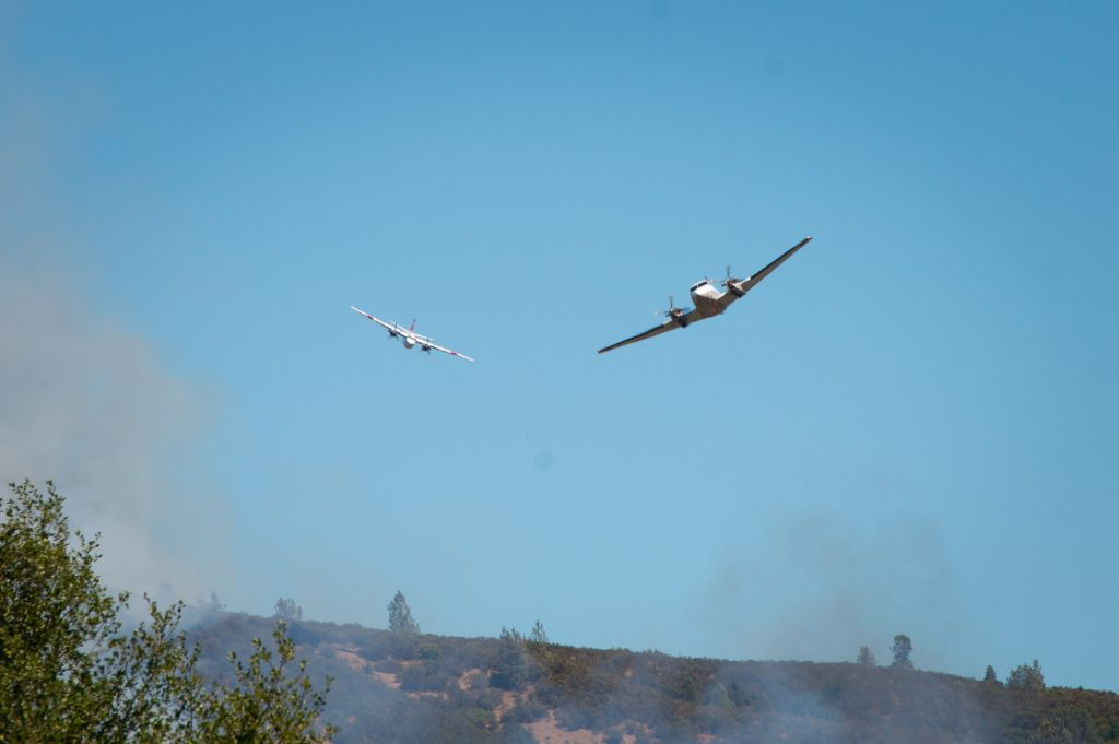 Aircraft over the Pawnee Fire.
