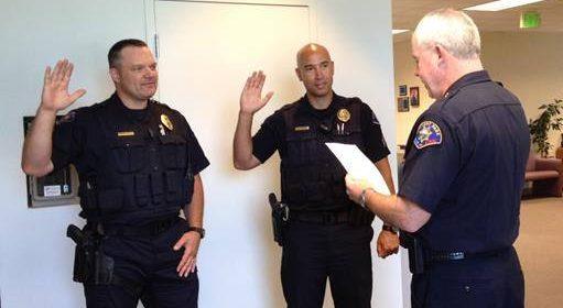 Jacy Tatum is sworn in as a Rohnert Park police sergeant in July 2015.