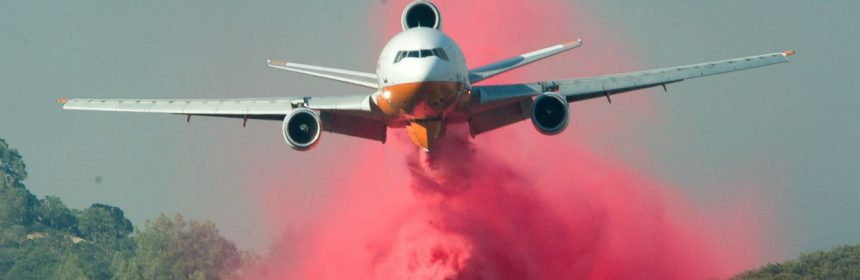 Tanker plane dropping retardant on the Pawnee Fire Sunday.
