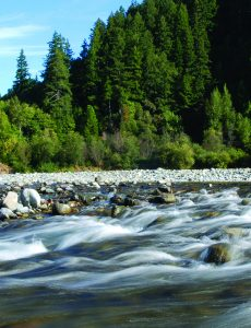 Cutline: Blue Creek, a crucial salmon tributary, empties into the main stem of the Klamath River.