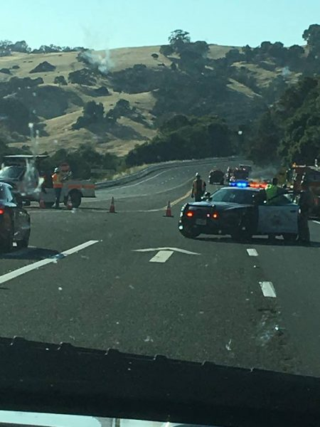 Hwy 101 closed at Redwood Valley after the Heart Fire rolled along the Ridgewood Grade
