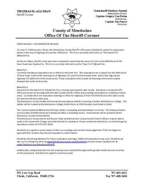 Mendocino Complex fires: new evacuation orders issued