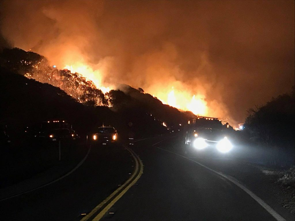 """About 1 a.m. conditions were just right along SR 175 in Lake County to set backfires to help control the River Fire,"""
