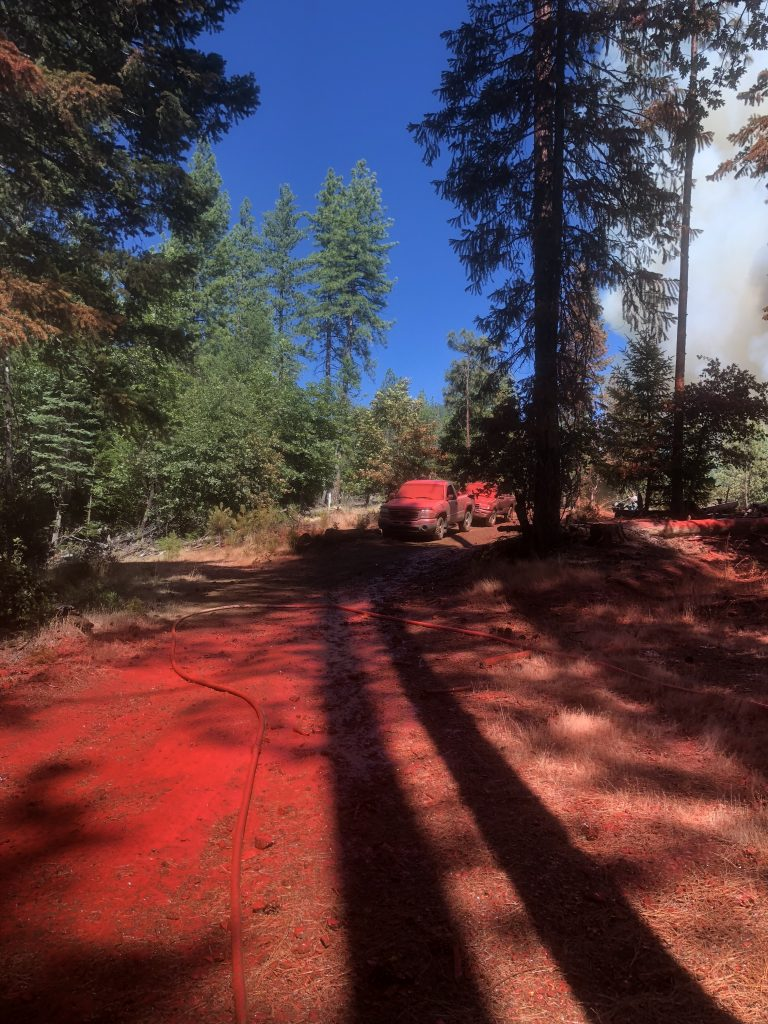 Retardant sprayed on the Petersburg Fire coats everything in its path.