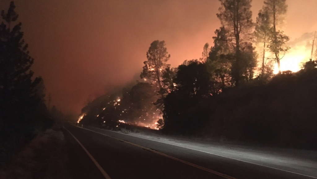 The Carr Fire is burning alongside hwy 299.