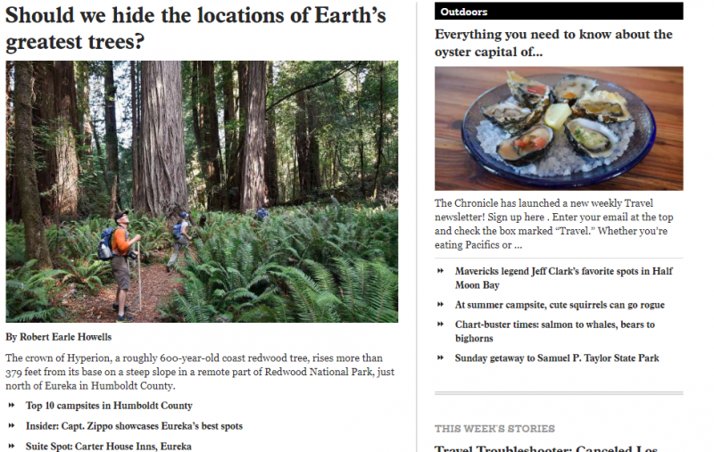 Screengrab of the San Francisco Chronicle's Travel Section.