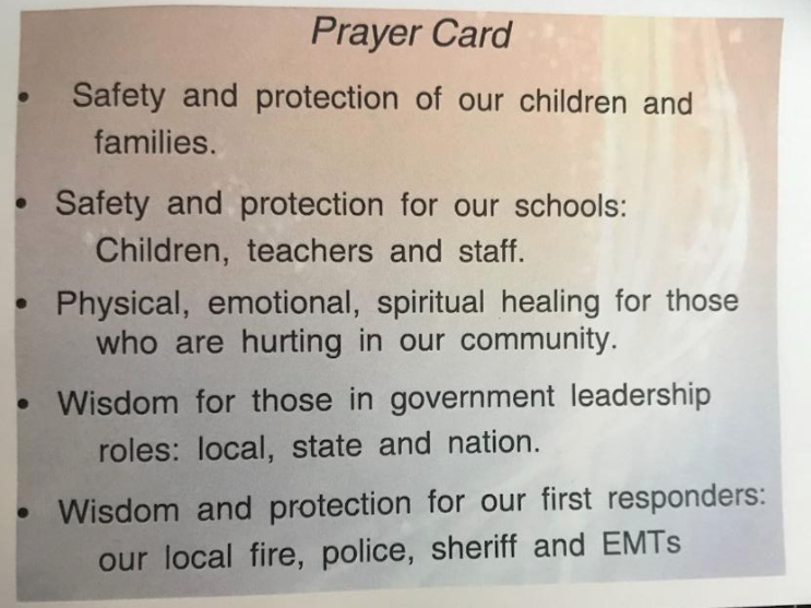 A prayer card used throughout the walk