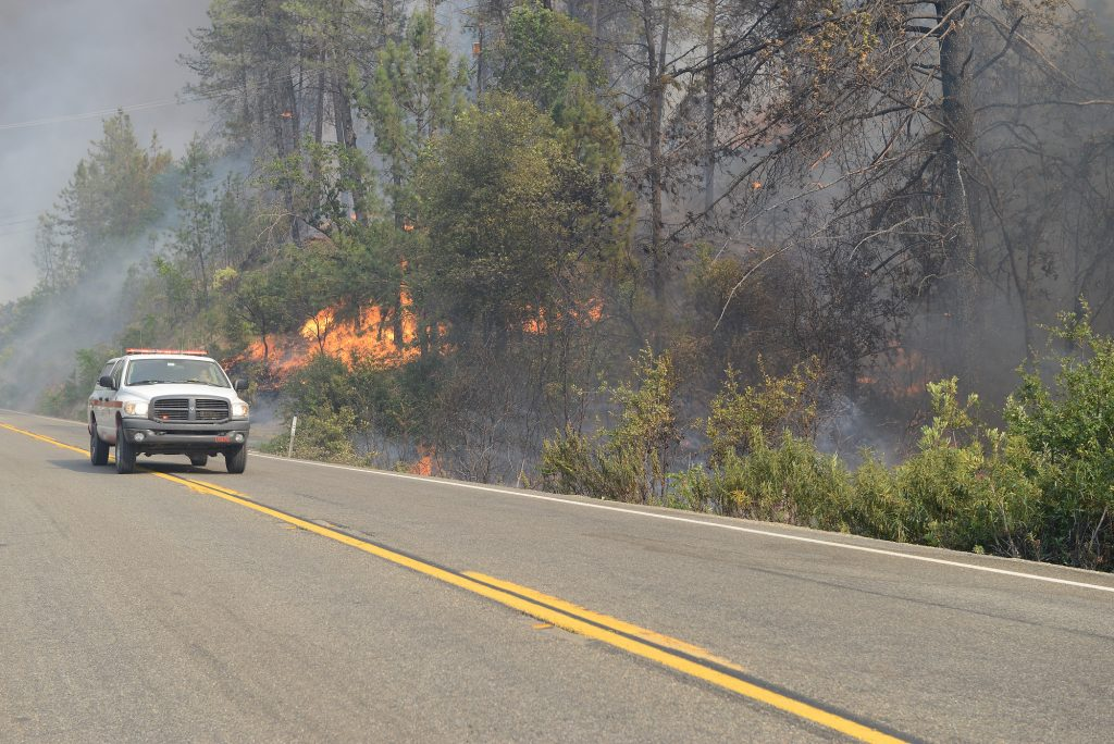 A CAL FIRE truck passes flames on 299 near Whiskeytown Lake.