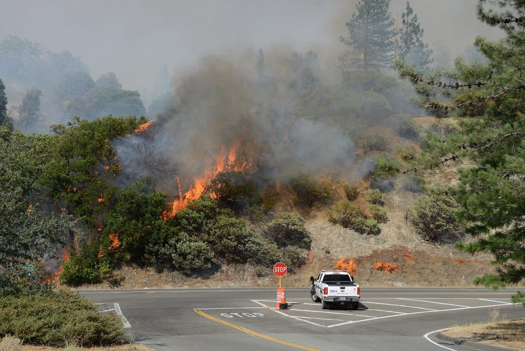 Fire ignites on the side of highway 299 near the Whiskeytown Lake.
